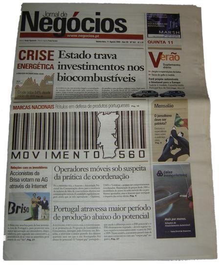 Movimento 560 no Jornal de Negócios